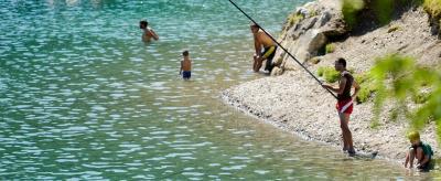 Fishing at Lake Ledro